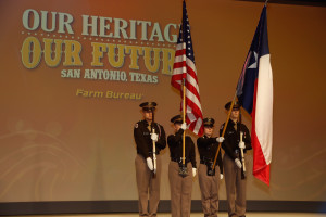 The presentation of the US flag to open the recent American Farm Bureau Annual Conference in San Antonio, Texas.