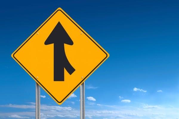 merging lanes road sign