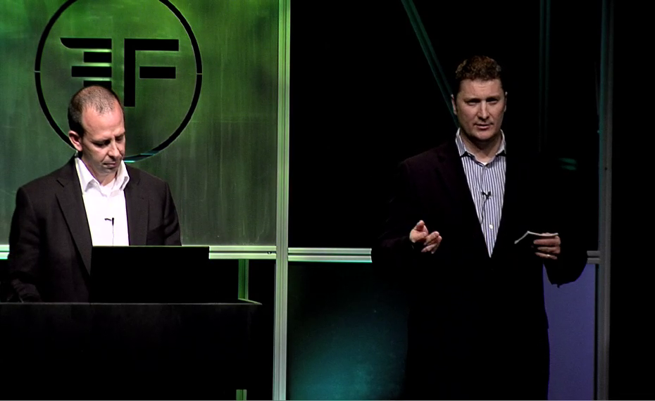 Bryce Benson and Kelly Passey present PowerDeals at FinovateSpring