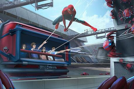 rendering of riders on the new WEB Slingers ride