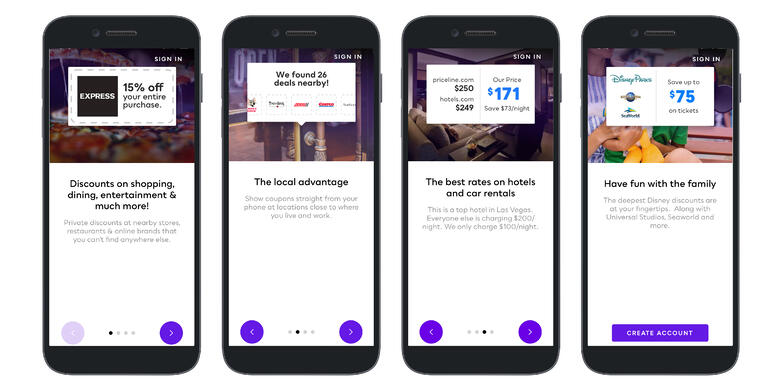 series of onboarding tutorial screens on the My Deals mobile app